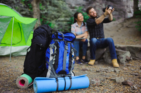 Travelers Enjoy Selfie at the Tent in Camping Holiday Summer - Travel Concept.