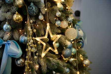 Christmas background, christmas decorations on the tree.