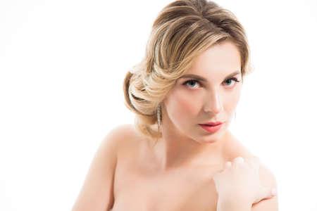Beauty portrait of female face with natural skin Zdjęcie Seryjne