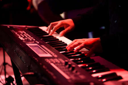 A musician plays a musical instrument or synthesizer on a concert stage. Stock Photo