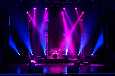Free stage with lights background, lighting devices.
