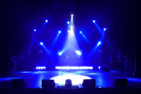 Free stage with lights, lighting devices. on a free srage. Stock Photo