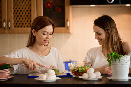 Young girlfriends chopping vegetables with twin in a family home kitchen. Foto de archivo