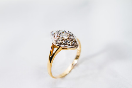 Diamond Engagement gold ring. Beginning of couple life