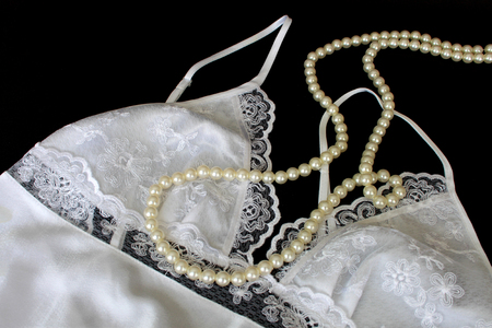 nightdress: Nightdress and Pearl Necklace