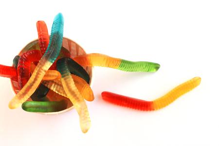 obesidad infantil: Gummy Worm Candy Foto de archivo
