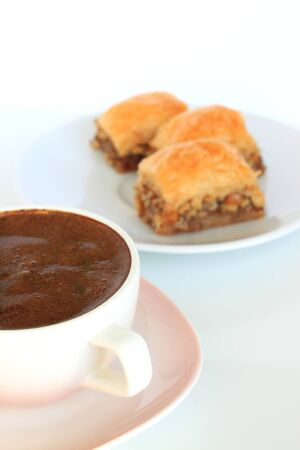 Baklava, Turkish Traditional Dessert and Turkish Coffee