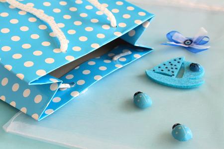 babyboy: blue polka dot bag for valentines day