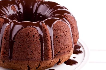 pastel de chocolate: pastel de chocolate con salsa Foto de archivo