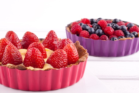 strawberry, blueberry and raspberry tarts photo
