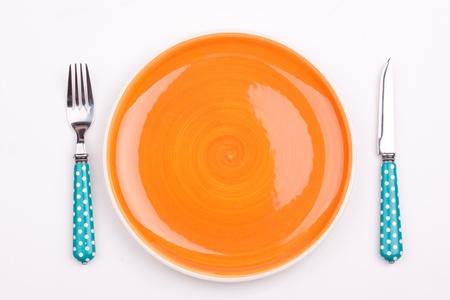 empty plate,fork and knife 版權商用圖片