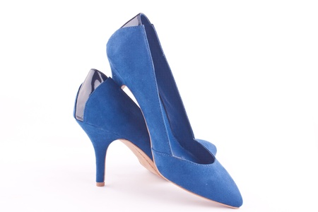 a pair of dark blue heel shoes Stock Photo - 18164019