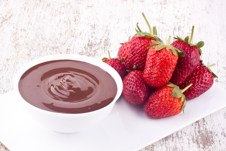chocolate fondue and strawberry photo