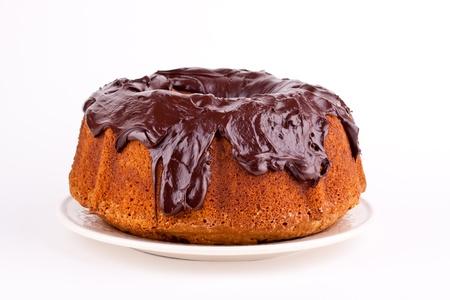 cake with chocolate sauce