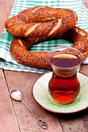 お茶とトルコのベーグル