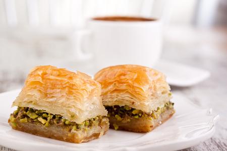 Desserts: baklava and turkish coffee