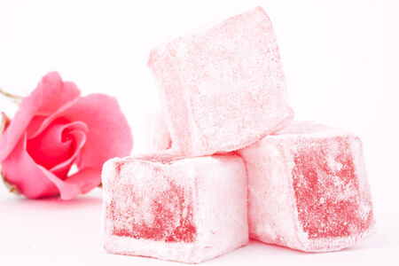turkish delight with rose Stock Photo