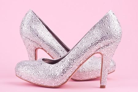 jeweled: shiny high heel shoes with rhinestones Stock Photo