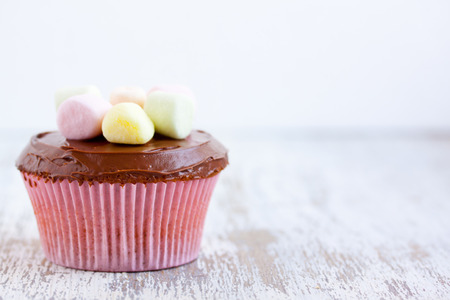 cupcake with chocolate cream and marshmallows Stock Photo