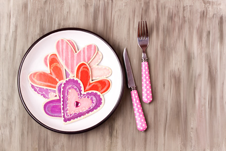 what to eat: hearts on a plate, do what you love Stock Photo