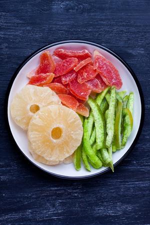 pummelo: dried pineapple, and papaya Pummelo