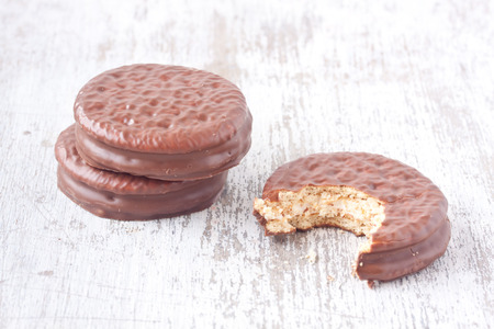 chocolate biscuit: marshmallow sandwich with covered chocolate Stock Photo