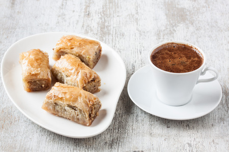 With walnut baklava and Turkish coffee