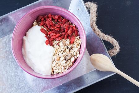 goji berry: muesli with yogurt and goji berry Stock Photo