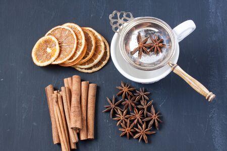 dried orange: herbal tea with cinnamon, star anise and dried orange