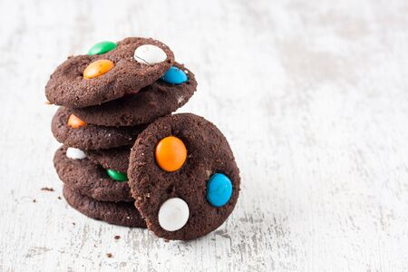 chocolate biscuit: cookies with sugar coated candy