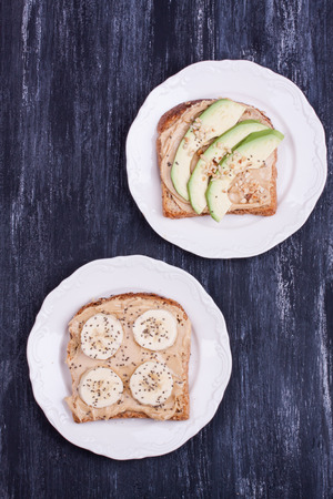 peanut butter: sandwiches with peanut butter, banana and avocado