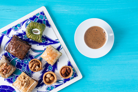 Baklava, Turkish coffee and assorted desserts