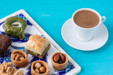 cofffee: Assorted desserts baklava and Turkish cofffee