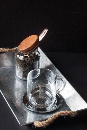 Green tea on a black background Stock Photo
