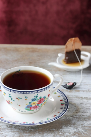 A cup of tea and tea bag