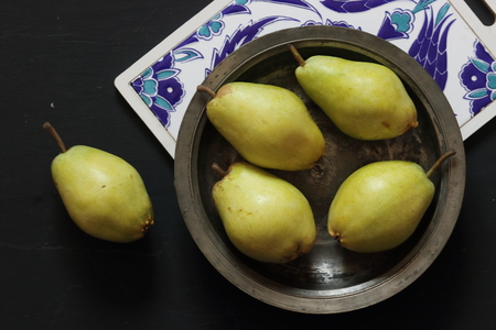Pears in a black background