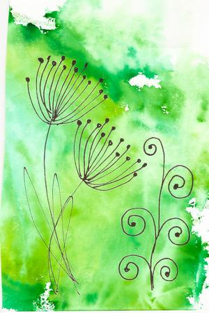 Handmade green abstract design