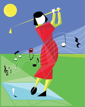 octave: Playing golf like a melody -  - woman in red Illustration