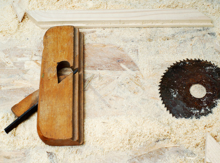 Carpenter tools on wood table background. Copy space. Stock Photo
