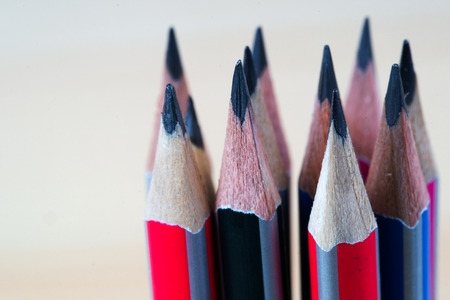 sharpened: Pencils on a wooden table. Back to school. Copy space.