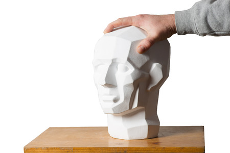 Tutorial primitive plaster head model. Copy space Stock Photo
