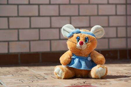 Soft toy of the mouse. Vintage. Copy space for text.