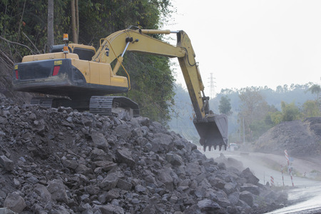 earthroad: Road construction in mountains Khao kho phetchaboon thailand Stock Photo
