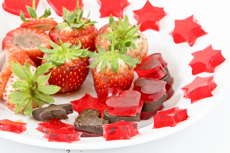 chocolate covered strawberries: Gourmet Chocolate Covered Strawberries for Valentines Day Stock Photo