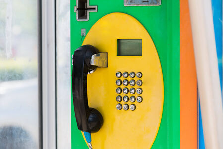 payphone: public telephone dual system in Thailand. Stock Photo