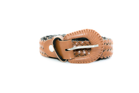 brown women leather belt isolated on white photo