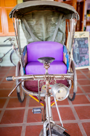 Thai old style transportation,Thailand tricycle. Stock Photo