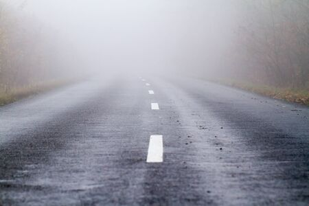 Asphalt road in an autumn fog Stock Photo - 16838866