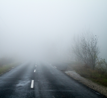 Asphalt road in an autumn fog photo