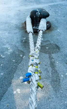 bollard: steel bollard with strong ship rope